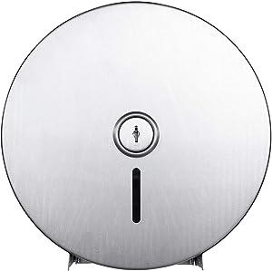 """Pack of 1 - Jumbo Roll Toilet Paper Dispenser - Lockable Design - Standard-Grade 430 Stainless Steel - 9"""" Roll Capacity"""