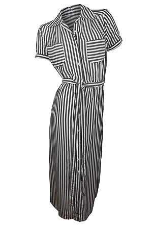 3178157b4ea15 Max Studio White Women s Small Striped Seamed Shirt Dress Black S at ...