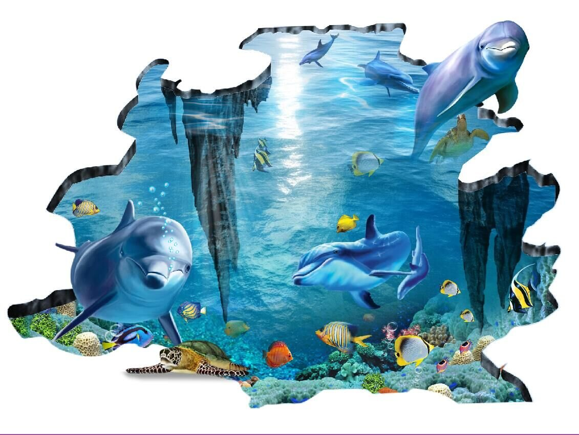 Stickers muraux requins Nemo non compatibles avec papier peint ingrain colorfulworld