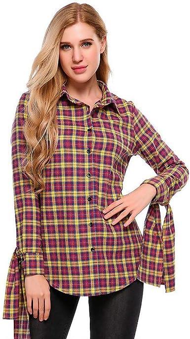 Wind Goal Camisas a Cuadros para Mujer, con Nudo de Corbata ...