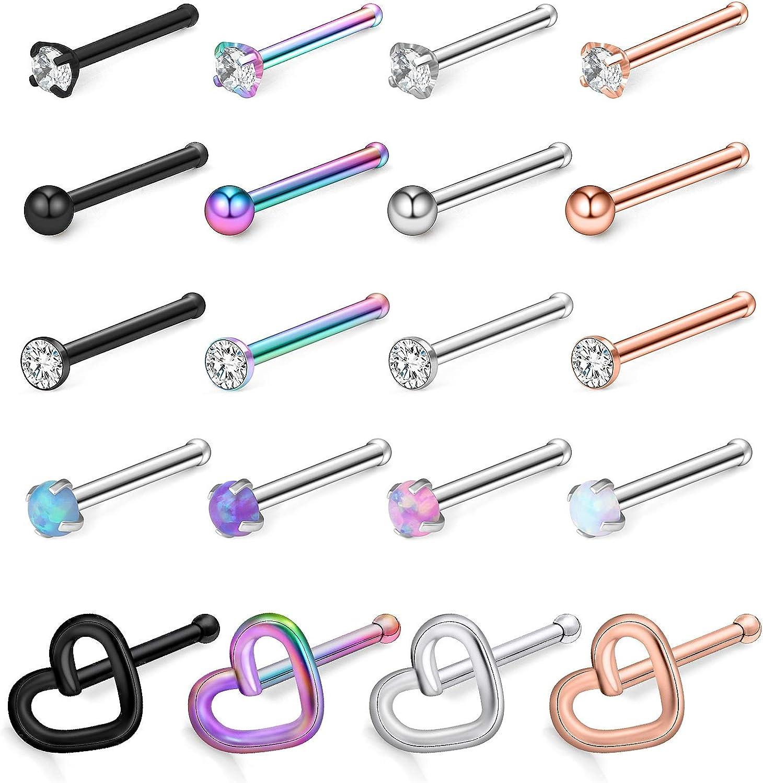 Ruifan 20G Surgical Steel Heart Flat Ball Opal Clear Diamond CZ Nose Stud Rings Bone L-Shaped Screw Piercing Jewelry 4-20PCS