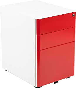 Flash Furniture Modern 3-Drawer Mobile Locking Filing Cabinet with Anti-Tilt Mechanism & Letter/Legal Drawer, White with Red Faceplate