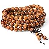 Wood Bracelet Tibetan Buddhist Link Wrist Sandalwood Beads Prayer Mala Elastic