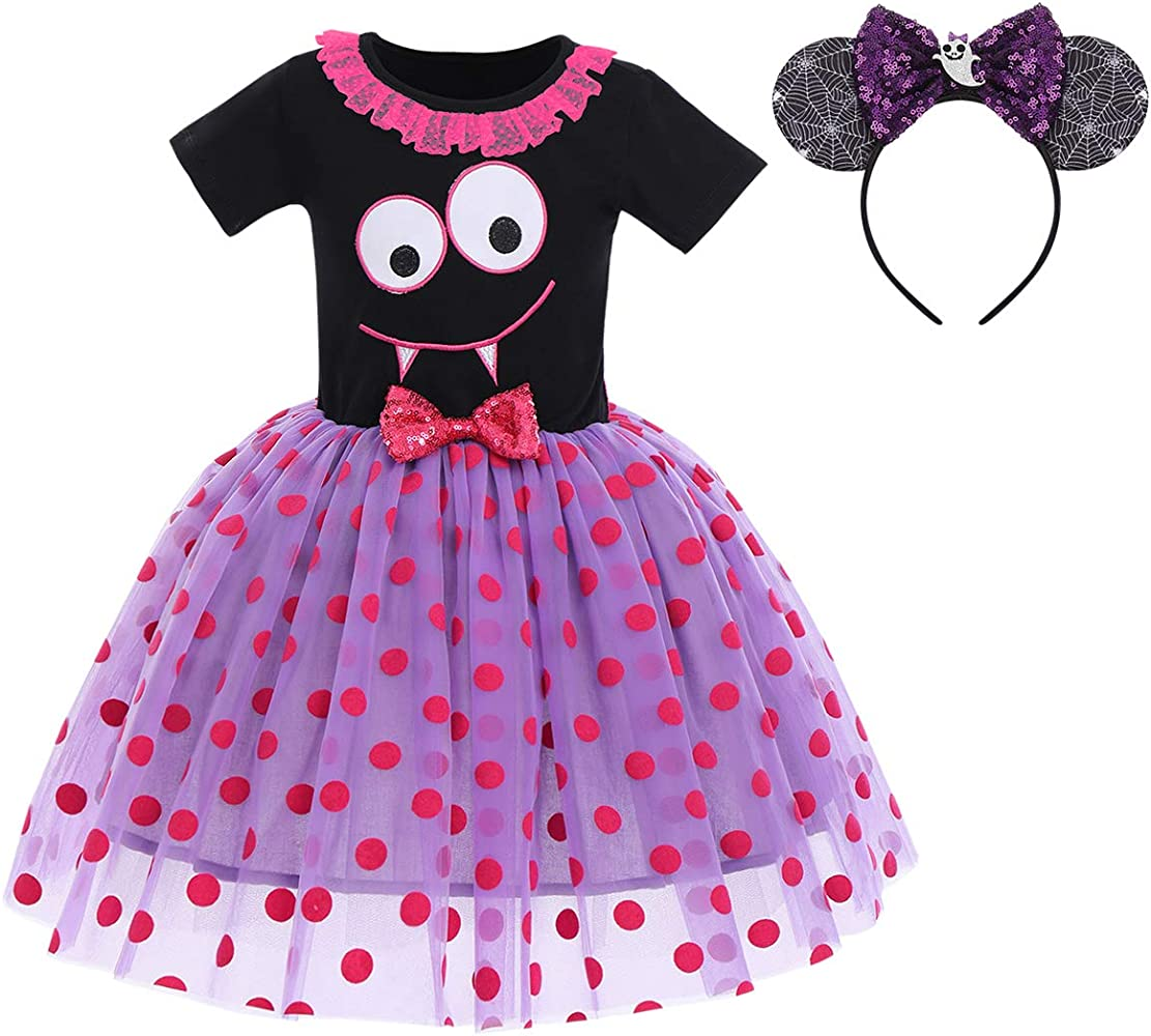 Kid Toddler Baby Girls Polka Dot Dress Princess Fancy Costume Birthday Party Sleeveless Bowknot Tutu with Headband Outfit Cosplay Dress Up Photo Props 12 Months 5 Years