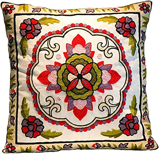 "Throw 18X18/"" Decorative Cotton Cover Embroidery Case Cushion Vintage Boho Pillow"
