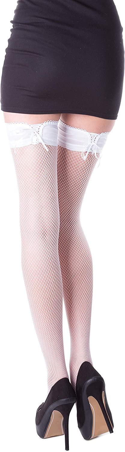 Sizes S-XL Laced Fishnet Hold Ups Stockings by Romartex 3 Colours