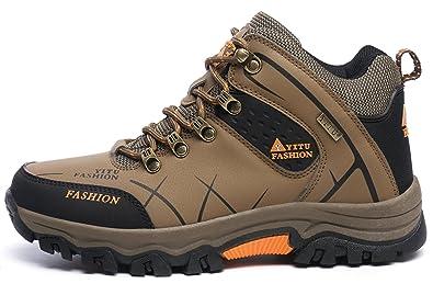 LILY999 Herren Trekking Wanderschuhe Warm Halten Wasserdicht Gleitsicher Stiefel Lässige Sportschuhe(40 EU,Grau)