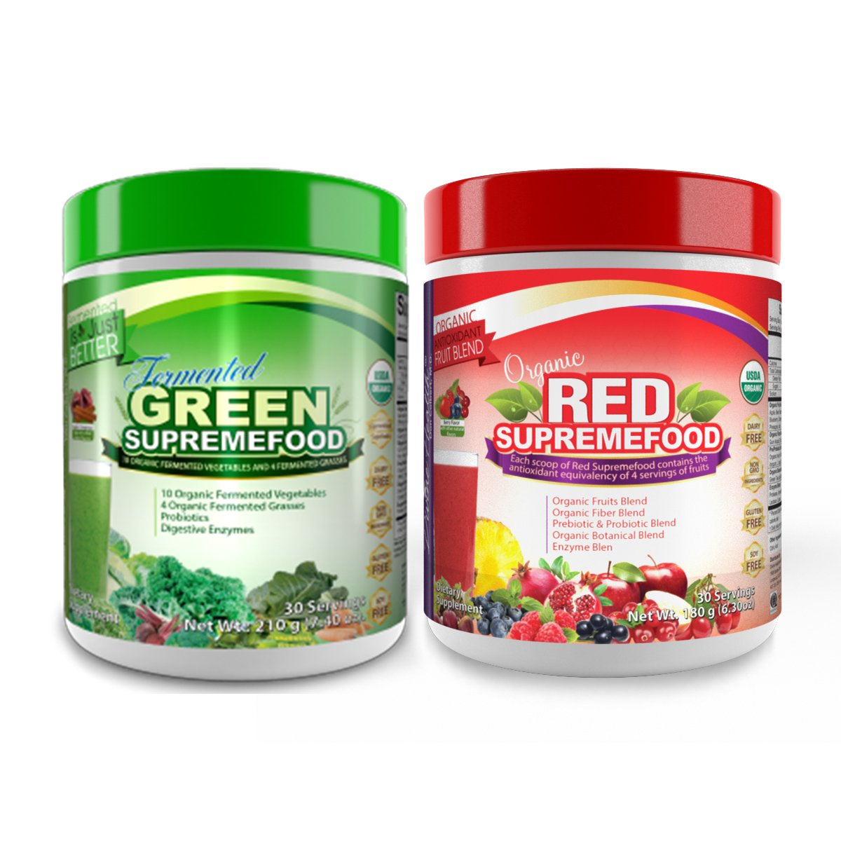 Dr.Colbert's Organic Supremefood Twin Pack - One Fermented Green Supremefood Apple Cinnamon Flavored Veggie Blend, (30 Day Supply) + One Organic Red Supremefood with Probiotics (30 Day Supply)
