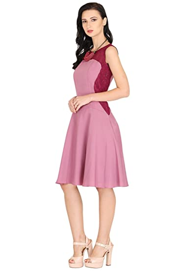 05c64cb19d6 Raas Prêt Women s Light Purple Crepe and Wine Lace Skater Dress  Amazon.in   Clothing   Accessories