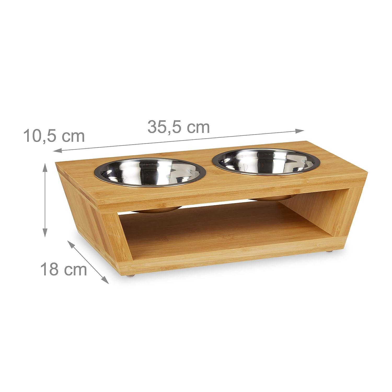 Natur-Silber Relaxdays Futterstation Fressnapf St/änder aus Bambus sp/ülmaschinenfest Hund /& Katze Edelstahl Napf Set