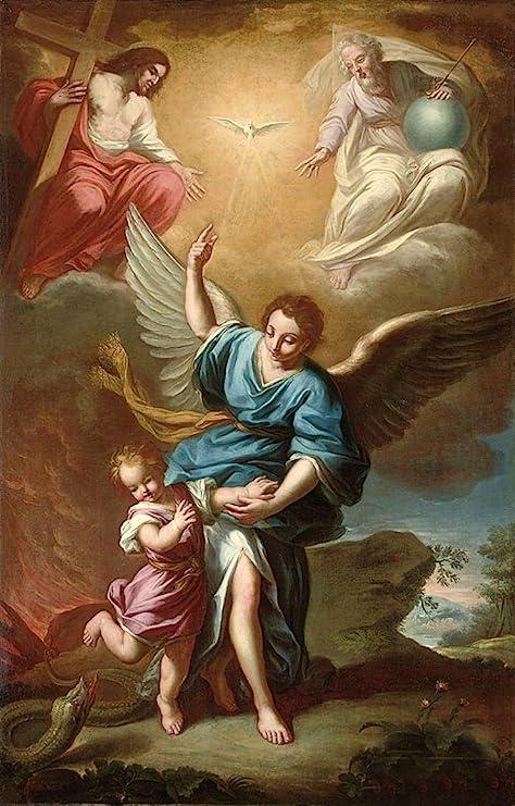 100% pintado a mano de Jesucristo ángel de la guarda con niño serpiente  lienzo de pintura al óleo para pared de casa por bien conocido artista, con  marco, listo para colgar: Amazon.es: