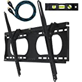 "Cheetah Mounts APTMMB TV Wall Mount Bracket for 32-65"" TVs up to VESA 600 and 165lbs, Fits 16"" And 24"" Wall Studs and includes a 10' Twisted Veins HDMI Cable and a 6"" 3-Axis Magnetic Bubble Level"