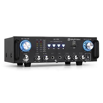 Skytronic 103.208 AV-100 Amplificador PA HiFi karaoke USB
