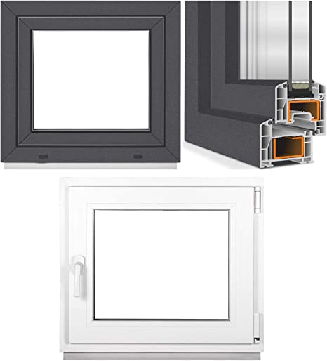 BxH: 75 x 50 cm DIN rechts Kunststoff Lagerware 3-fach-Verglasung wei/ß Fenster Kellerfenster