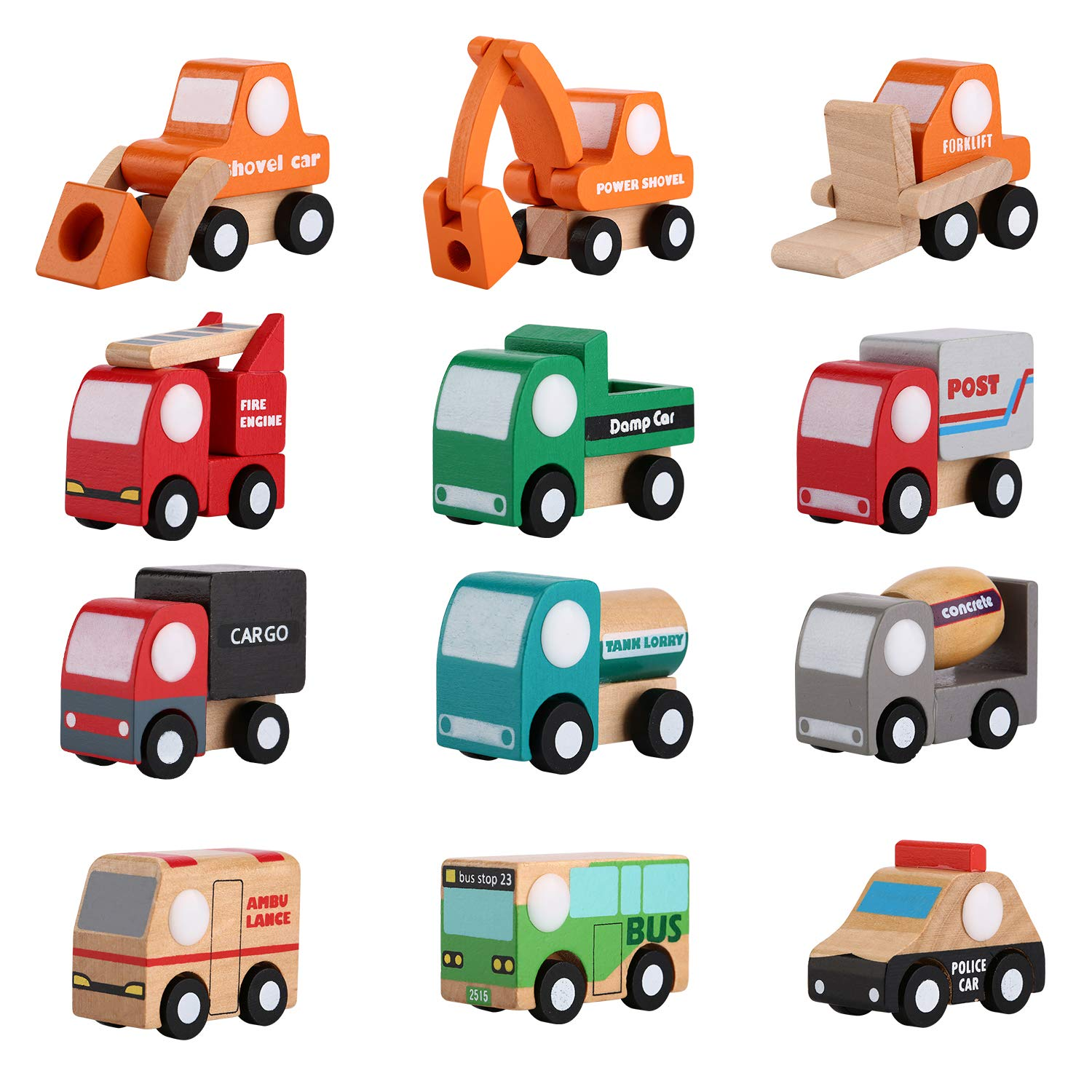 NaKita Kids Wooden Toy Cars 12 Pcs Mini Assorted Construction Vehicles and Traffic Trucks Model Cartoon Push Car Baby Educational Toy Play Set for Toddlers Boys Grils