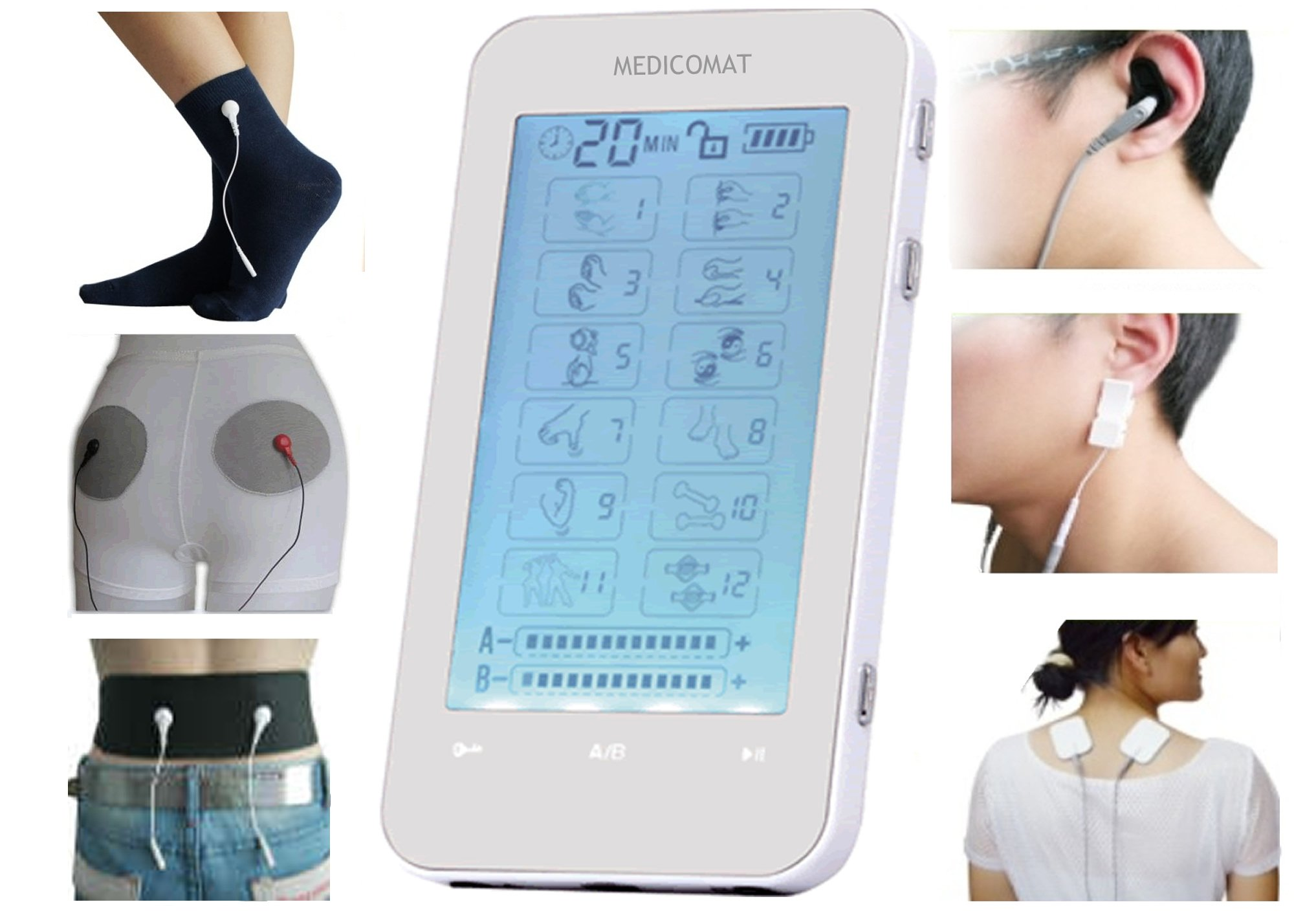 Back Pain Relief Medicomat Rechargeable Touchscreen Unit (Medicomat-3J with Belt Underpants Socks)