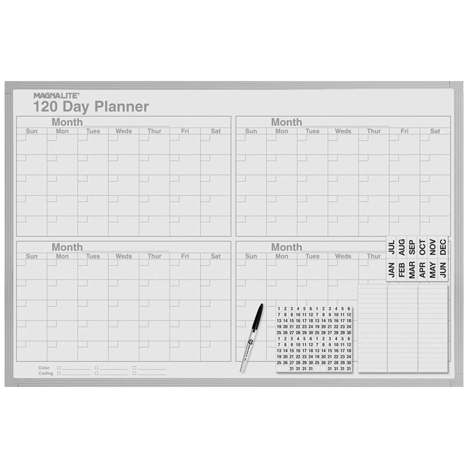 Magna Visual ML-342 Magna Visual 120-Day Planning Board, Porcelain-On-Steel, 48 x 36, Gray