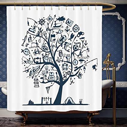 Wanranhome Custom Made Shower Curtain Fishing Cute Tree Of Life With Marine Objects Anchor Wind