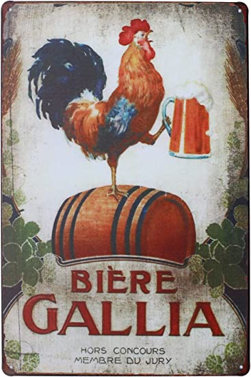 Amazon.com: Happy Pollos, gallo pared de metal tin sign ...