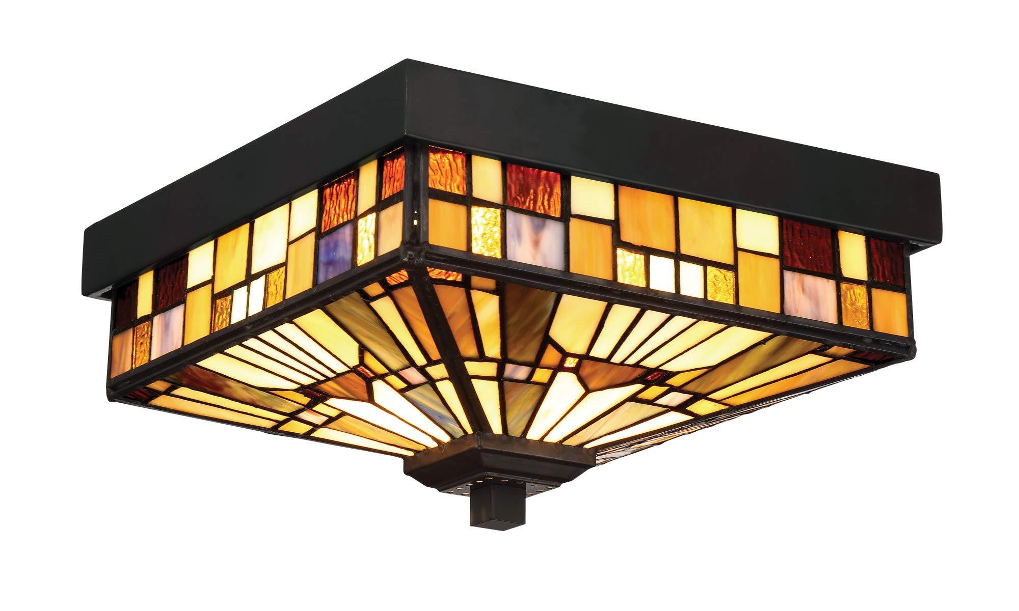 Quoizel TFIK1611VA Inglenook Outdoor Tiffany Mission Flush Mount Ceiling Lighting, 2-Light, 120 Watts, Valiant Bronze (6'' H x 11'' W)