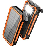 Solar Charger 30000mAh, Solar Power Bank, PD 18W QC 3.0 Quick Charge with 4 Outputs Dual Inputs USB Type C, External Backup B