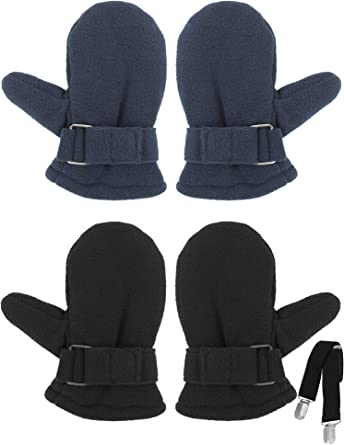 NIce Caps Baby and Toddler Easy-On Sherpa Lined Knit Stretch Mittens 2 Pair Pack