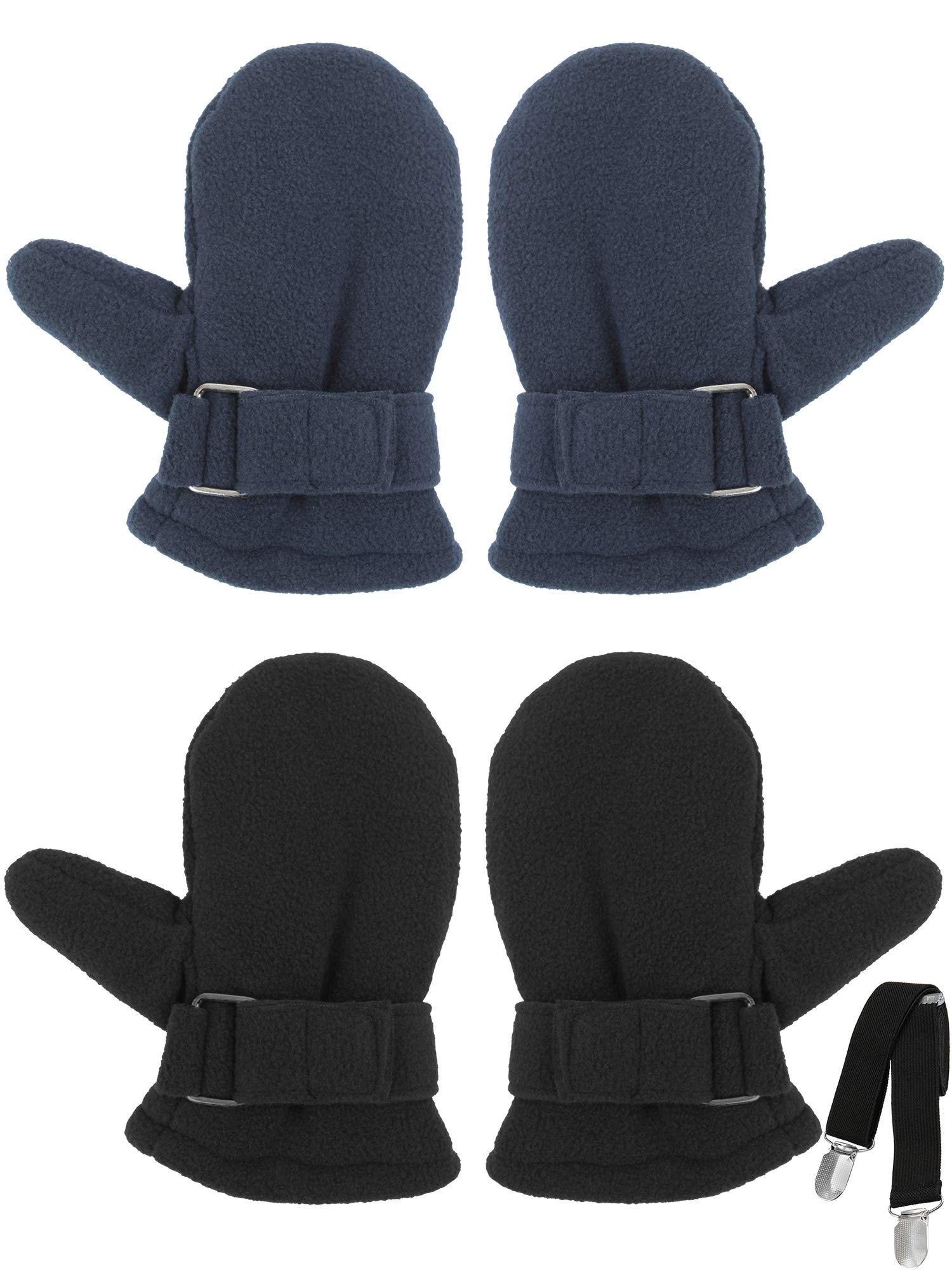 Cooraby 2 Pairs Toddler Kids' Sherpa Lined Mittens Baby Boys or Girls Winter Gloves with Adjustable Mitten Clips