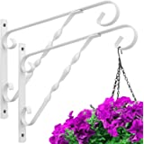 Amagabeli 2 Pack Hanging Plant Brackets 12'' Outdoor Wall Planter Hooks Hangers Flower Baskets Pot Bird Feeder Wind Chimes So
