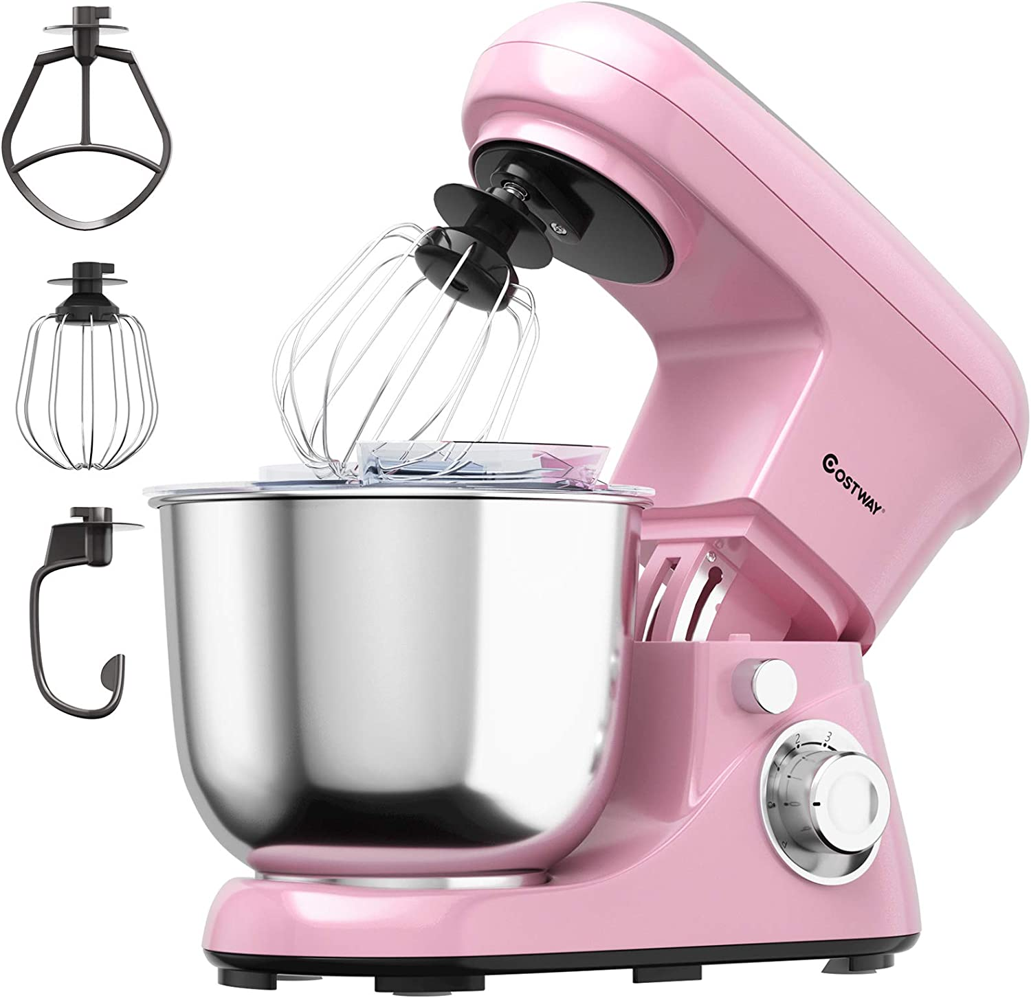 COSTWAY Stand Mixer, 6-Speed Tilt-Head Stand Mixer, 500W, Kitchen Electric Mixer with Dough Hook, Beater, Whisk, 5.3 Quart Stainless Steel Mixing Bowl and Splash Guard (Pink)