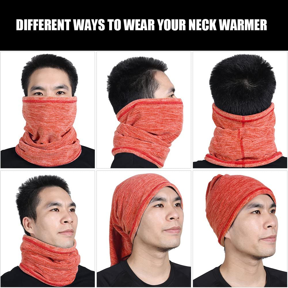Soft Fleece Neck Warmer Neck Gaiter Face Mask Cover Scarf Keep Warm for Cold Weather Winter Outdoor Sports WTACTFUL 2 Pack