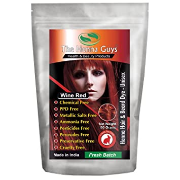 Buy Wine Red Henna Hair & Beard Dye / Color - 1 Pack - The Henna ...