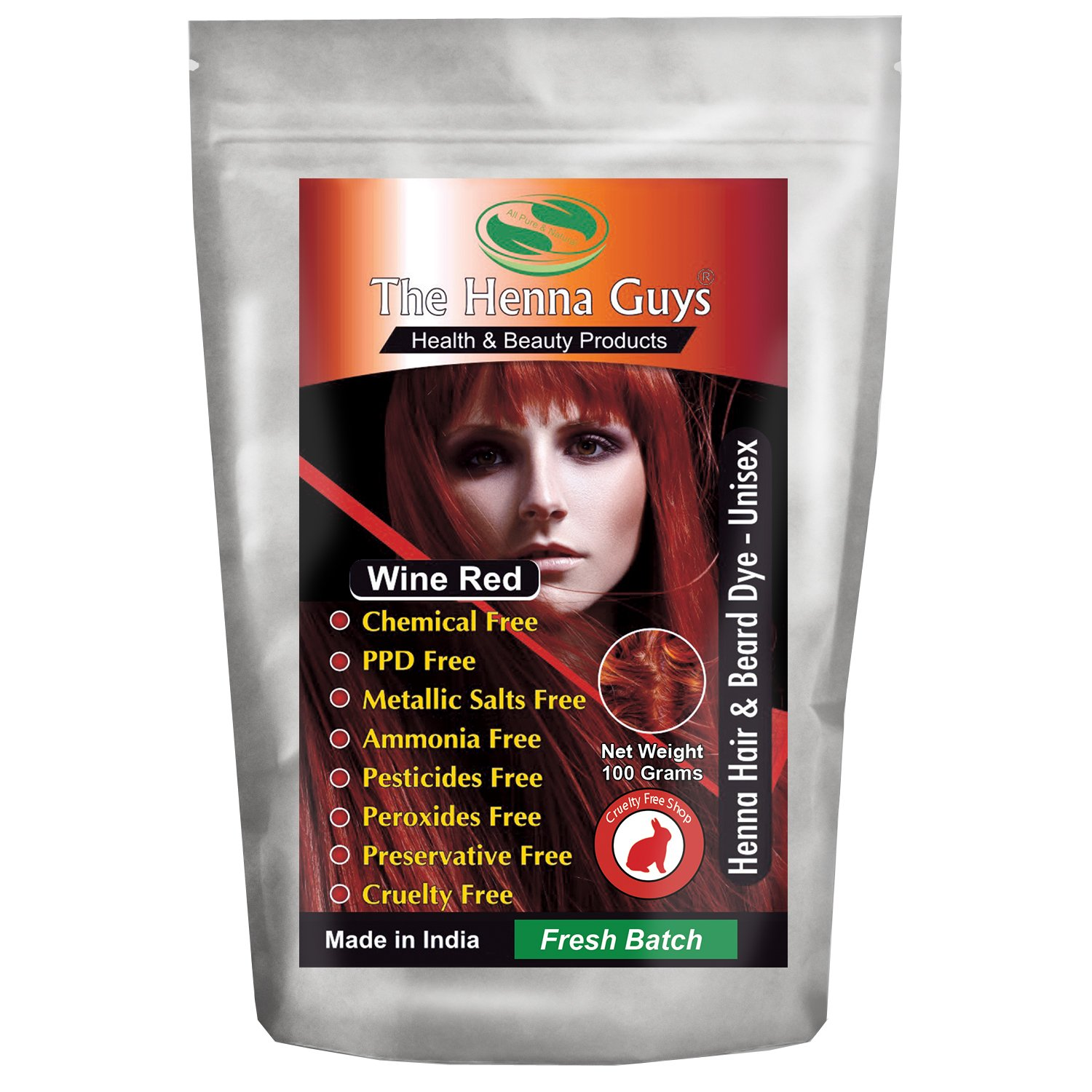 Amazon Natural Red Henna Hair Color Dye 100 Grams The