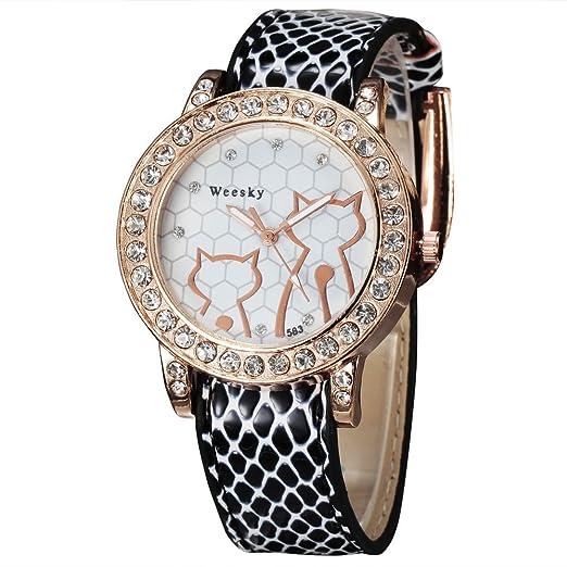 Weesky Cute diseño de gato rosa oro funda de piel reloj Wrap vestido de cristal casual reloj con reloj Para Las Mujeres al por mayor: Amazon.es: Relojes