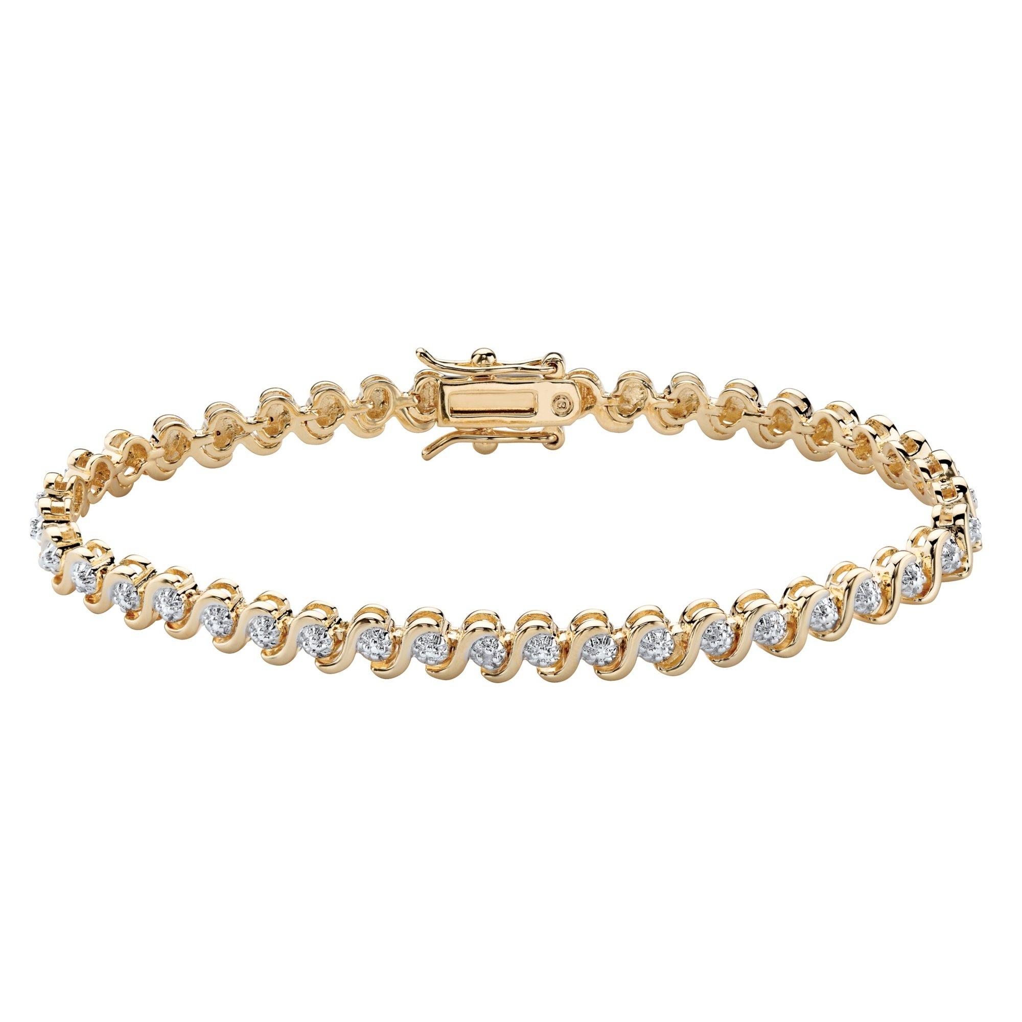 Palm Beach Jewelry Round White Diamond Accent S-Link Tennis Bracelet 18k Yellow Gold-Plated 7.5''