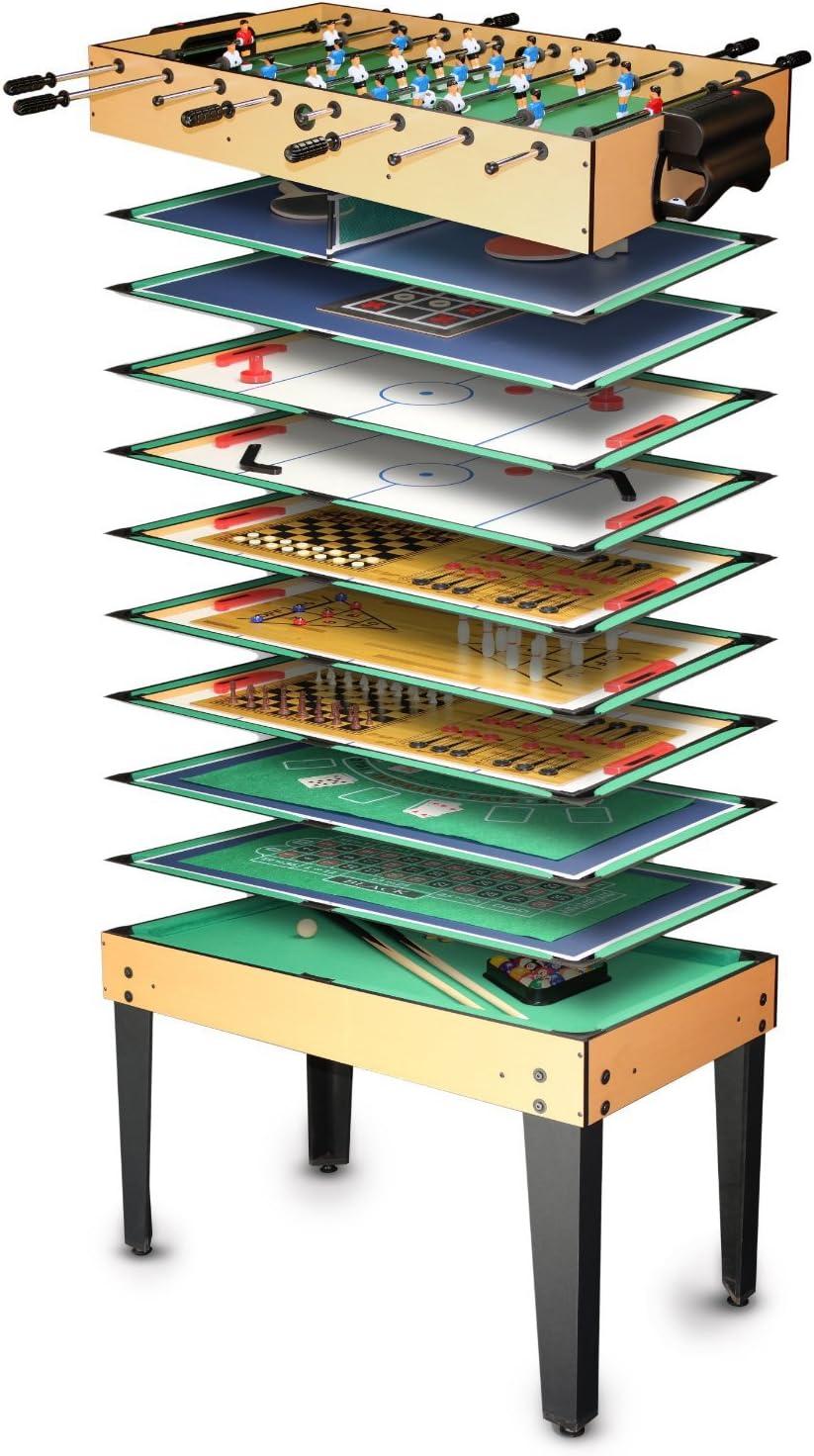 Ultrasport Table Multijeux, 5 Jeux pour Enfants : Mini Babyfoot, Hockey  sur Table, Billard, Ping-Pong, Dames, Échec, Etc., Accessoires Inclus pour