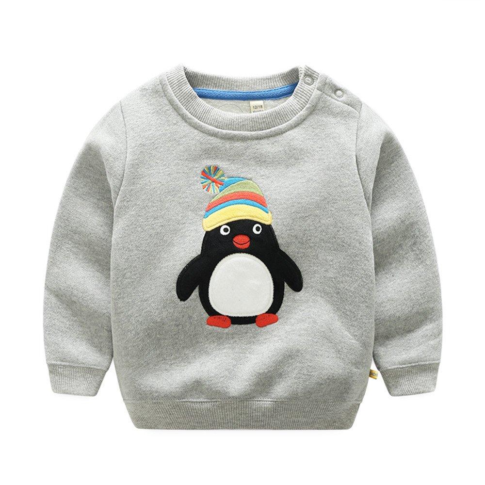 Top and Top Toddler Baby Boys Crewneck T Shirt Pullovers Fleece Sweatshirt Tops Blouse Cartoon Long Sleeve for 1-5T Kids (Grey, 90/18-24 Months)