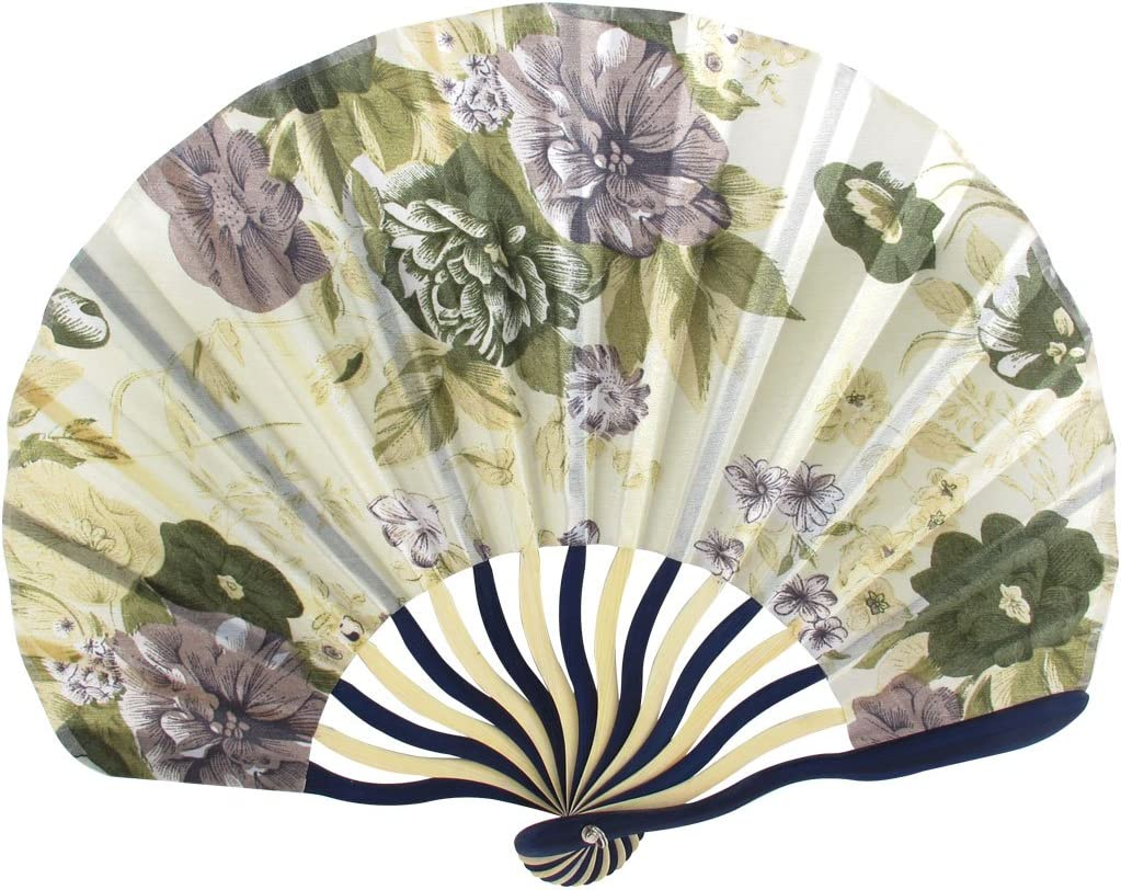 uxcell Classic Style Peony Flower Fabric Bamboo Folding Dance Hand Fan Beige