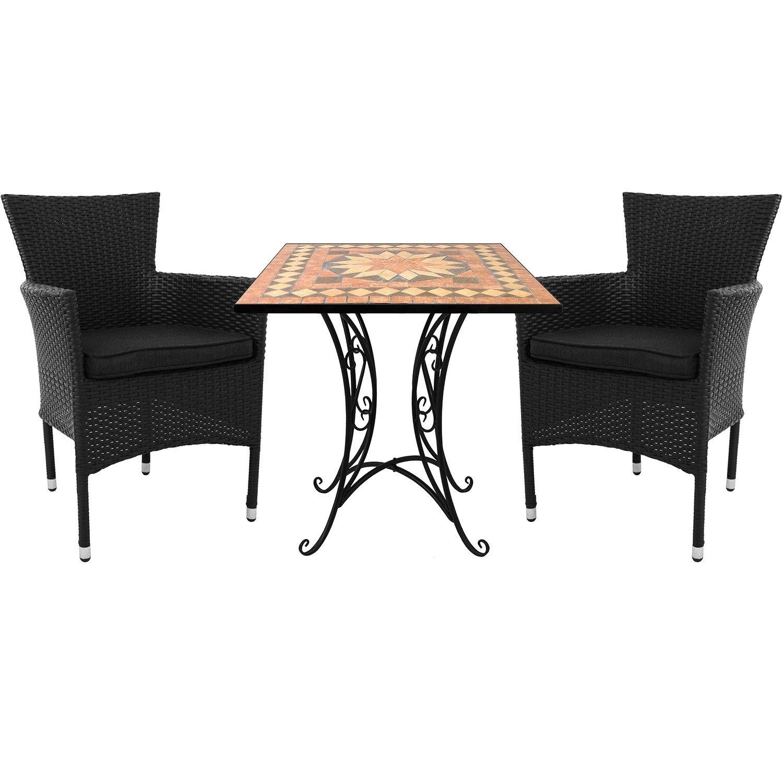 3tlg. Sitzgruppe Mosaiktisch 70x70cm + 2x stapelbare Rattansessel inkl. Sitzkissen