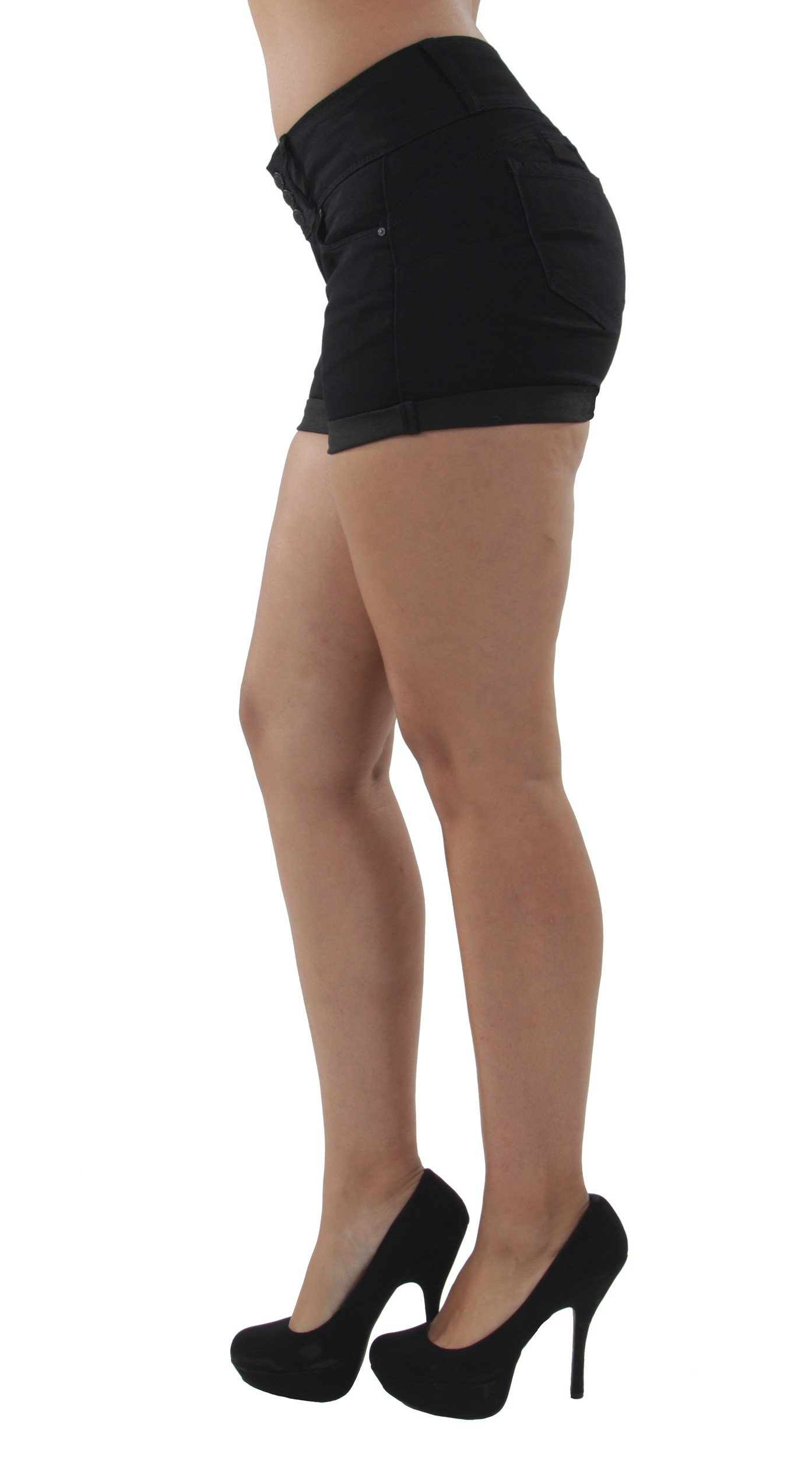 Fashion2Love 90099XL(SH) - Plus Size, Colombian Design, Mid Waist, Butt Lift, Booty Shorts in Black Size 1XL by Fashion2Love (Image #3)