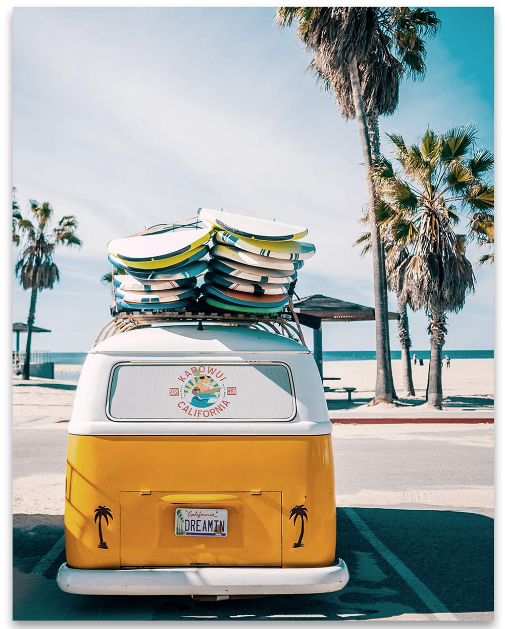 Lone Star Art VW California Dreamin Surf Van - 11x14 Unframed Print - Makes a Great Beach House Decor and Gift to Volkswagen Owners Under $15
