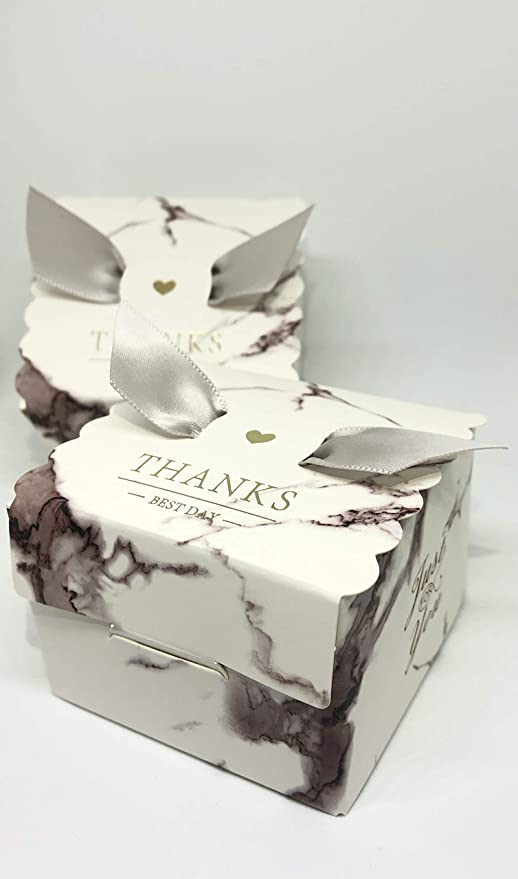50 Cajas(Cajitas de carton) para detalles Boda, Cajitas para Comunion, Cumpleaños, Navidad, Fiestas infantiles, eventos. Cajitas prar regalos, bombones, chuches, caramelos. (Mármol): Amazon.es: Hogar