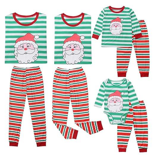 family christmas pajamas set santa claus print green strip long sleeve o neck t shirt red strip long pants homewear at amazon womens clothing store
