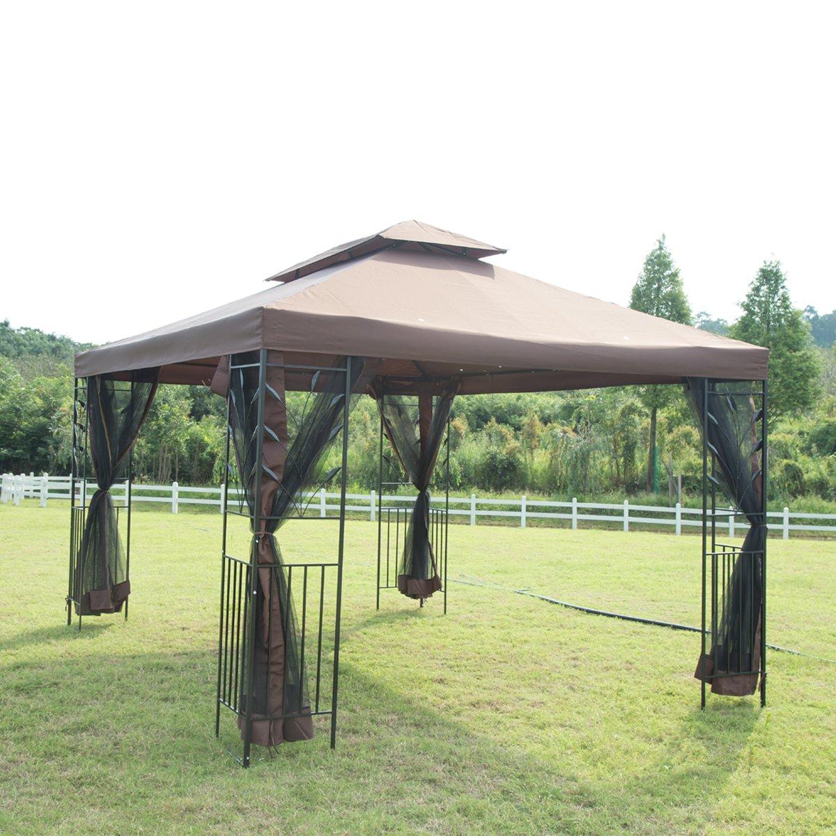 10'x 12' Outdoor Garden Gazebo Patio Canopy Party Gazebo with Netting Screen Walls