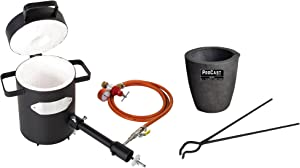"""5 Kg Propane Melting Furnace Kit with Clay Graphite Foundry Crucible 19"""" Hinge-Style Foundry Crucible Tongs Gold Silver Metal Refining Casting Tool"""