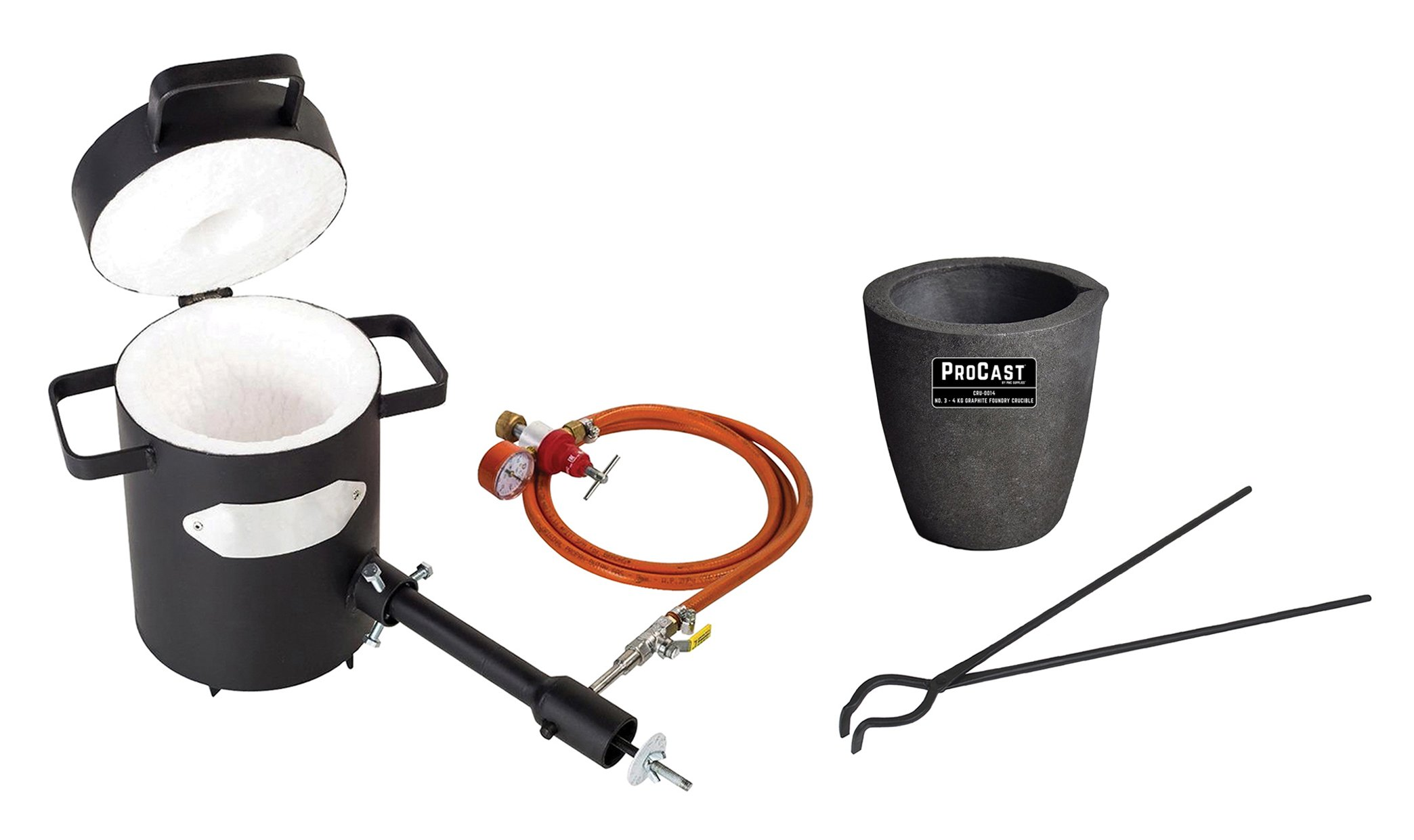 5 Kg Propane Melting Furnace Kit w/No 5 Kg Clay Graphite Foundry Crucible w/and 19'' Hinge-Style Foundry Crucible Tongs Gold Silver Metal Refining Casting Tool by PMC Supplies LLC