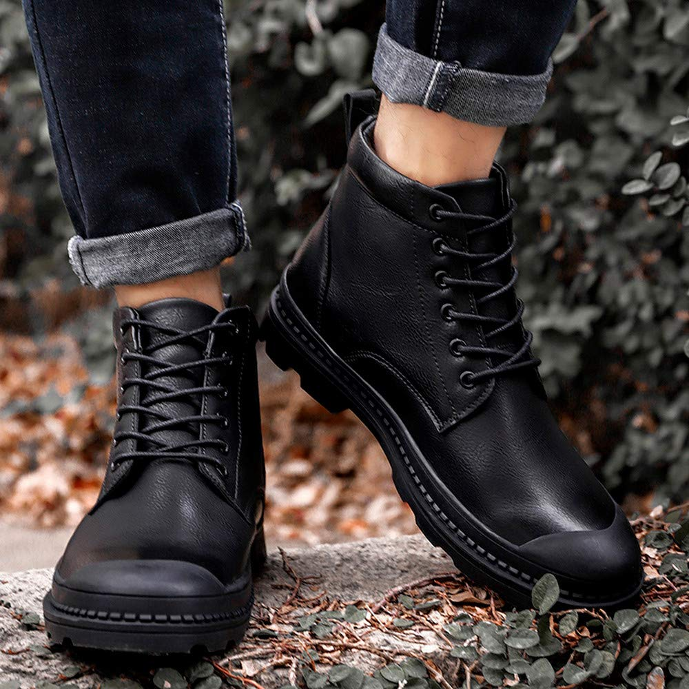 Men/'s Leisure Leather Round Toe Sport Shoe Lace-Up Flat Sneakers Military Boots RedBrowm