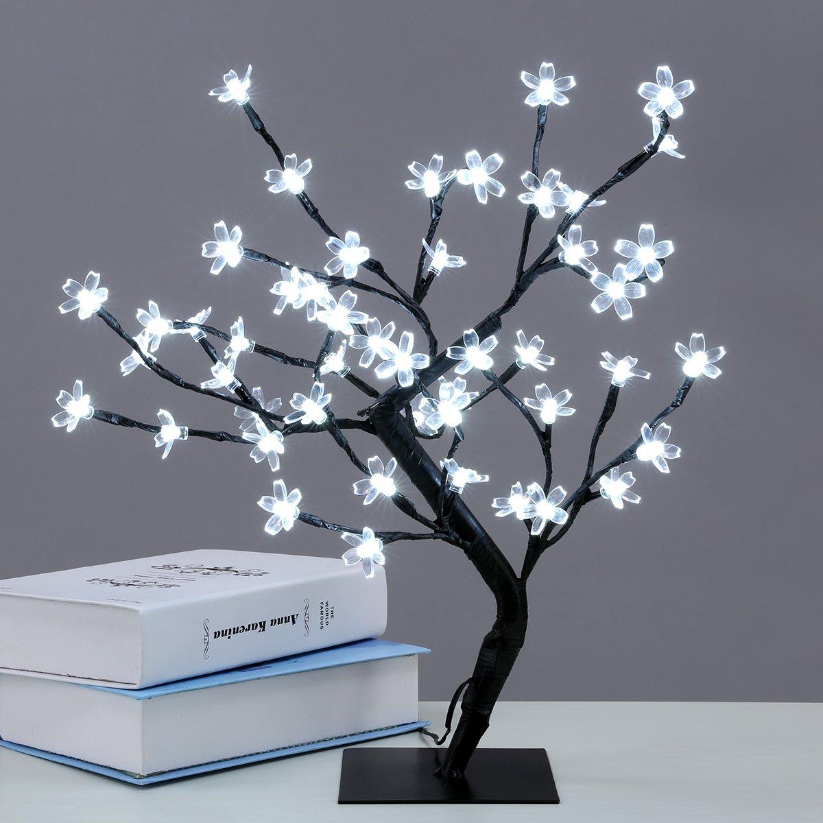 Excelvan Cherry Blossom Desk Top Bonsai Tree Light Decorative Warm