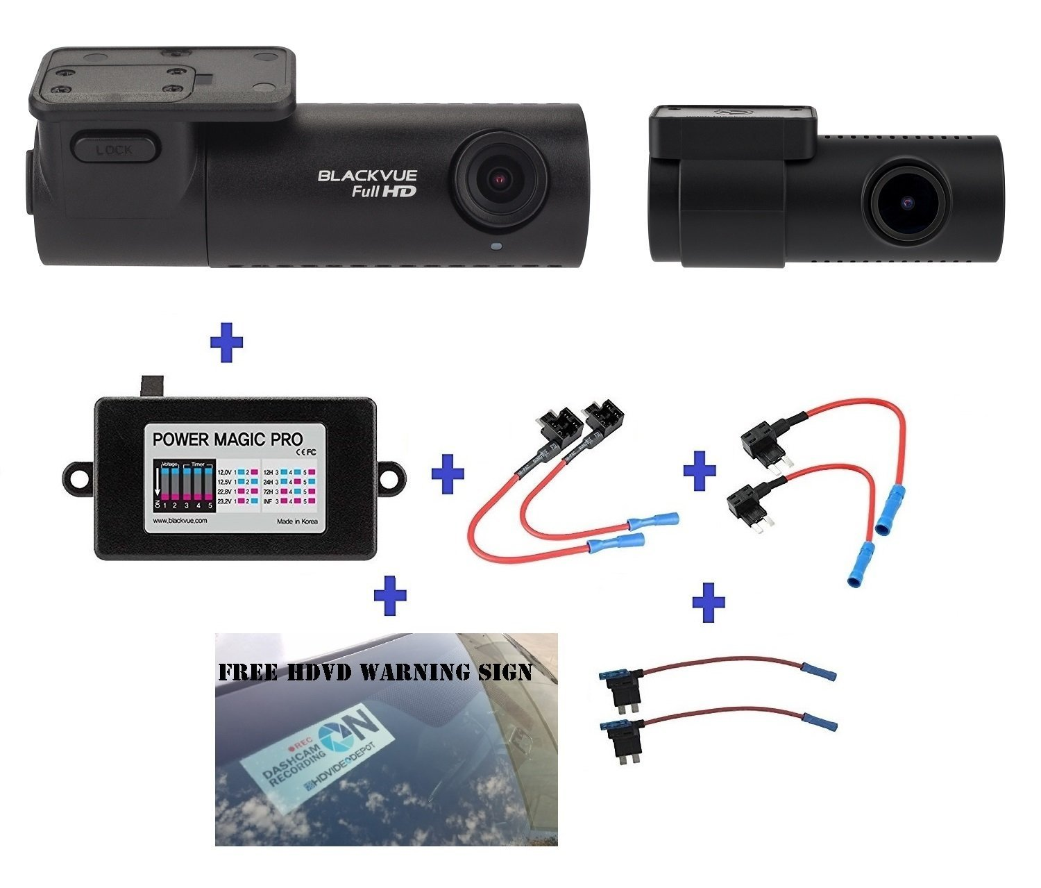 Blackvue DR590-2CH 64GB, Car Black Box/Car DVR Recorder, FULL HD 1080p Front and Rear, 30FPS, G Sensor, 64GB SD Card + Power Magic Pro + Fuse taps + HDVD Warning Sign Included