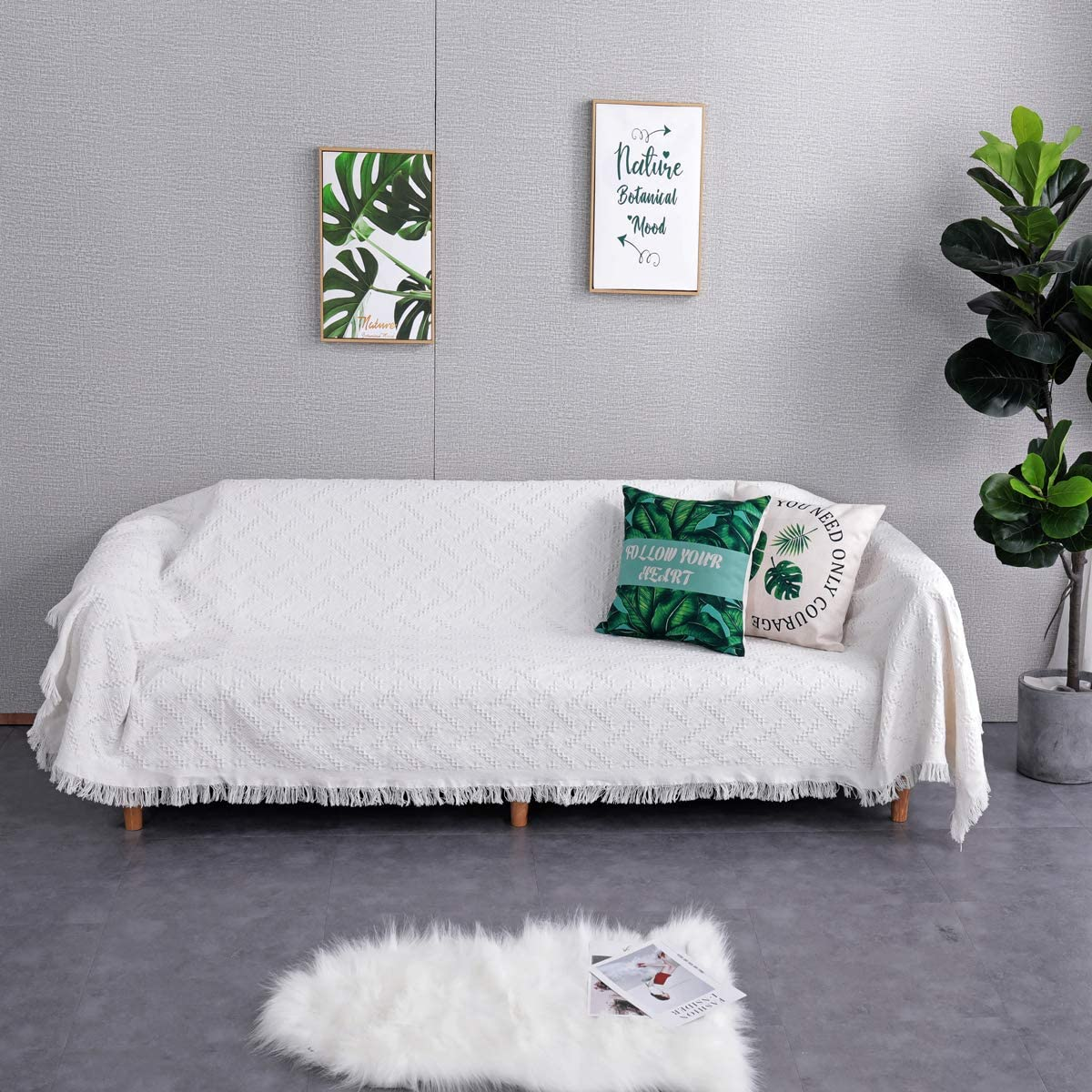 Sofier Couch Cover Sofa Covers for 3 Cushion Couch Geometrical Premium Sofa Covers for Living Room Sectional Sofa Covers for Dogs Pet Couch Protector Furniture Covers(White Grid, 90
