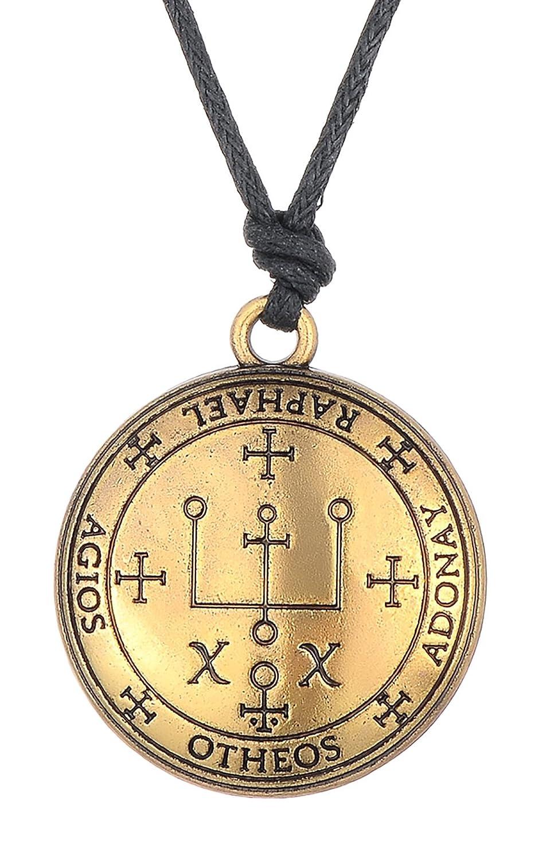 Sigil of Archangel Raphael Enochian Solomon Talisman Necklaces Vintage Jewelry for Men